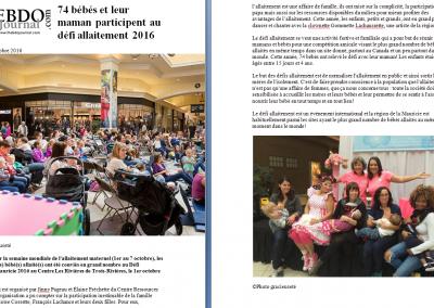 74 bébés et leur maman participent au défi allaitement 2016