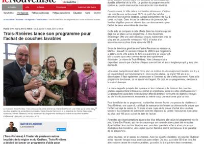 Trois-Rivières lance son programme pour l'achat de couches lavables