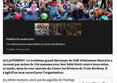 (Samedi 03 octobre 2015) Le défi allaitement, L'hebdo du St-Maurice